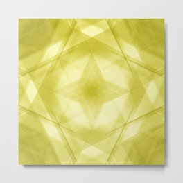 Vintage triangular strokes of intersecting sharp lines with canary triangles and a star. Metal Print