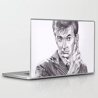 david tennant Laptop & iPad Skins featuring David Tennant as Doctor Who by Kate Murray