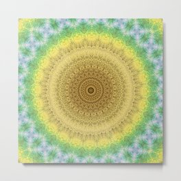 Tie Dye Sunflower Cloth Woven Sun Ray Pattern \\ Yellow Green Blue Purple Color Scheme Metal Print