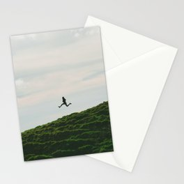 MAN - RUNNING - DOWNHILL Stationery Cards