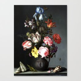 Flowers In A Vase With Shells And Insects Canvas Print