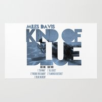 miles davis Area & Throw Rugs featuring Kind Of Blue - Miles Davis / Album Cover Art LP Poster  by FunnyFaceArt