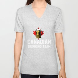 Canadian Drinking Team Beer And Maple Leaf Canada Unisex V-Neck