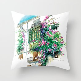 Ibiza old town charming windows with Bougainvilleas Throw Pillow
