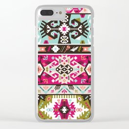 Fancy abstract geometric pattern in tribal style Clear iPhone Case
