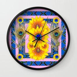 PINK-BLUE PEACOCK SUNFLOWERS DECO JEWELED Wall Clock