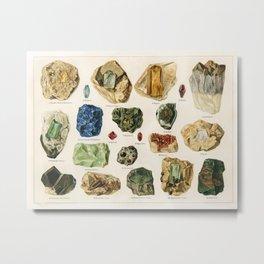 Vintage Scientific Illustration Horizontal Gem and Mineral Print Antique Rock Art Print Rock Print Mineral Art Mineral Paint, Gemstones Antique Mineral Print Amethyst Metal Print