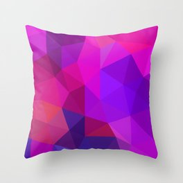 Magenta Low Poly Throw Pillow