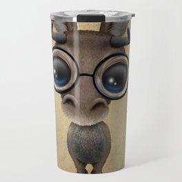Cute Curious Baby Moose Nerd Wearing Glasses Travel Mug