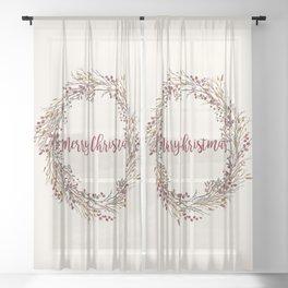 Merry Christmas Wreath Sheer Curtain