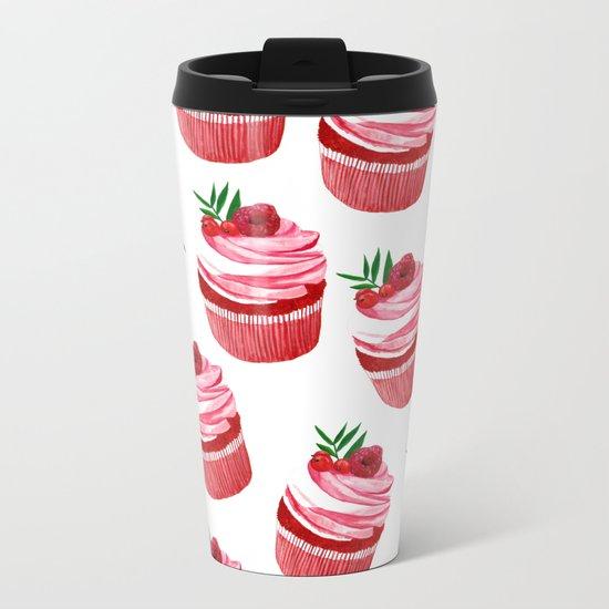 Red velvet cupcakes pattern Metal Travel Mug