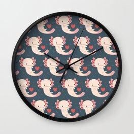 Axolotls, hearts and bubbles Wall Clock