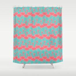 Flamingo Flamingle - coral pink on aqua Shower Curtain