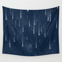 stars Wall Tapestries featuring Wishing Stars by Paula Belle Flores