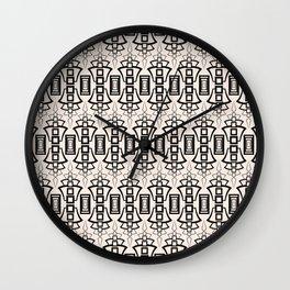 Art Deco 12 . Black and beige pattern . Wall Clock