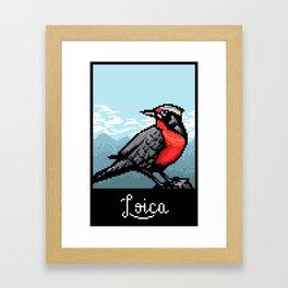 Loica bird PixelArt Framed Art Print