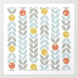 Mid Century Modern Retro Leaf and Circle Pattern Art Print