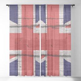 Union Jack UK Flag On Old Timber Sheer Curtain