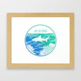 Save the Sharks! Framed Art Print