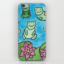 Happy frogs on lilypads cute kid's room illustration iPhone Skin