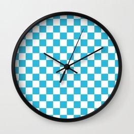 Gingham Vivid Arctic Blue Checked Pattern Wall Clock