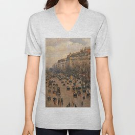 Boulevard Montmartre Afternoon Sunlight 1897 By Camille Pissarro | Reproduction | Impressionism Pain Unisex V-Neck