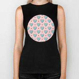 Aqua Heart Pattern over Pink Background Biker Tank