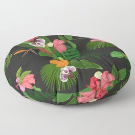 Red, orange, pink hibiscus and heaven bird flowers and tropical leaves pattern black background Floor Pillow