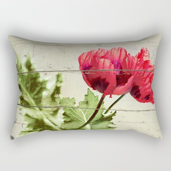 The Things We Remember - red poppy photo on wood texture Rectangular Pillow