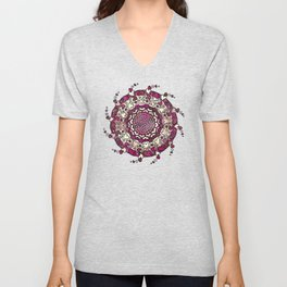Hearts only! red purple Unisex V-Neck