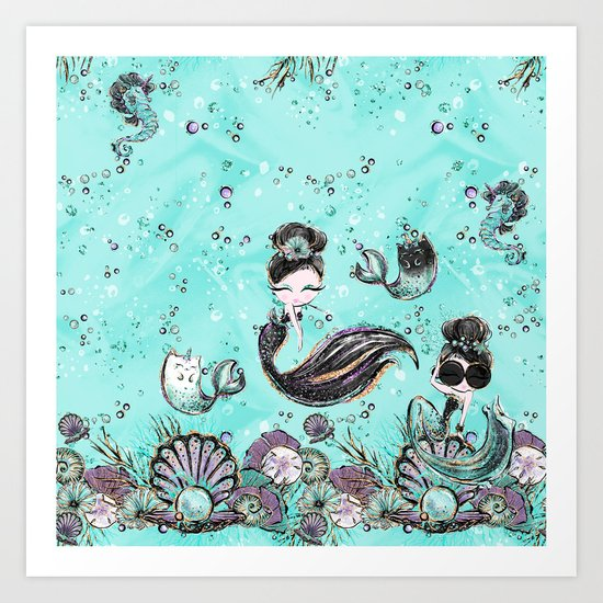 Audrey Mermaid Pattern 10 by serigraphonart