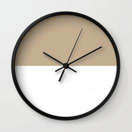 White and Khaki Brown Horizontal Halves Wall Clock