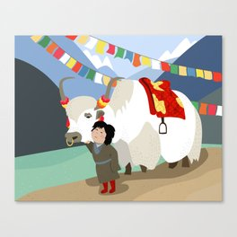 A child and his best friend Canvas Print