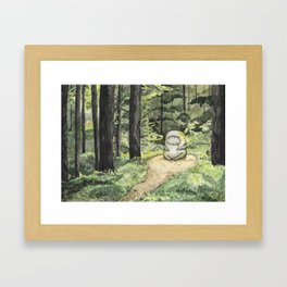 Statue in a Forest Watercolor Painting Framed Art Print