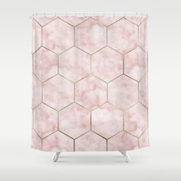 Cloudy pink marble hexagons Shower Curtain