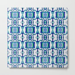 Blue Turquoise Green Line Pattern Metal Print