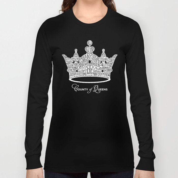 County of Queens | NYC Borough Crown (WHITE) Long Sleeve T-shirt