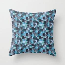 Blue and Charcoal Painter's Brick Tile Throw Pillow
