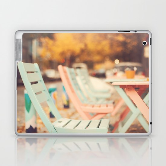 Dream Autumn (Pink and blue coffee shop chairs on retro and vintage fall) Laptop & iPad Skin