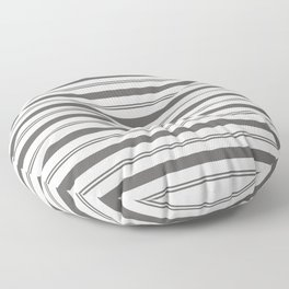 Pantone Pewter Gray and White Stripes, Wide and Narrow Horizontal Line Pattern Floor Pillow