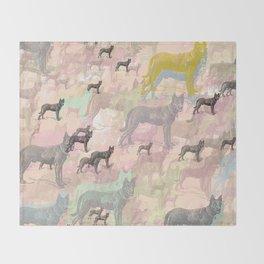 Sky Dogs - Abstract Geometric pink mauve mint grey orange Throw Blanket