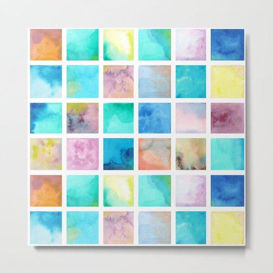 Watercolor pattern Squares . Metal Print