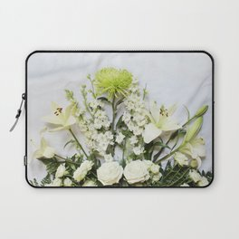 Green and Cream Flowers Laptop Sleeve