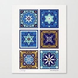 Talavera Mexican Tile – Navy & Bronze Palette Canvas Print