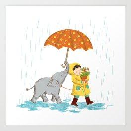 boy & elephant Art Print
