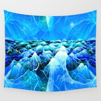 data Wall Tapestries featuring Data Sea (blue) by NatalieCatLee