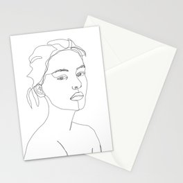Models face single line drawing - Grey Stationery Cards