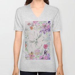 Modern hand paint watercolor floral Unisex V-Neck