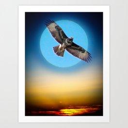 Moments - Full Moon - Sunset Art Print
