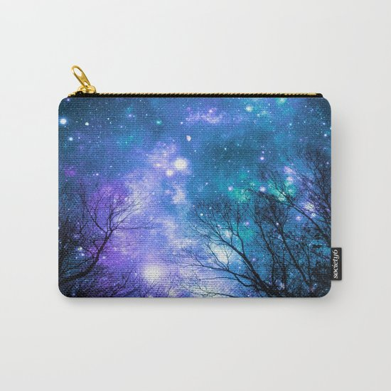 Black Trees Violet Teal Space Carry-All Pouch